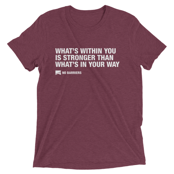 """What's Within You..."" Short Sleeve T-Shirt - 13 Colors & 8 Sizes! - No Barriers Apparel - Maroon Triblend / XS"