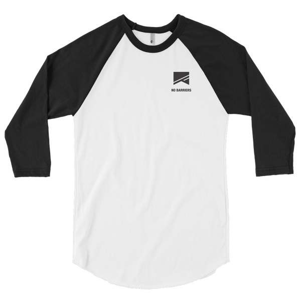 3/4 Sleeve Raglan Shirt - No Barriers Apparel - White/Black / XS