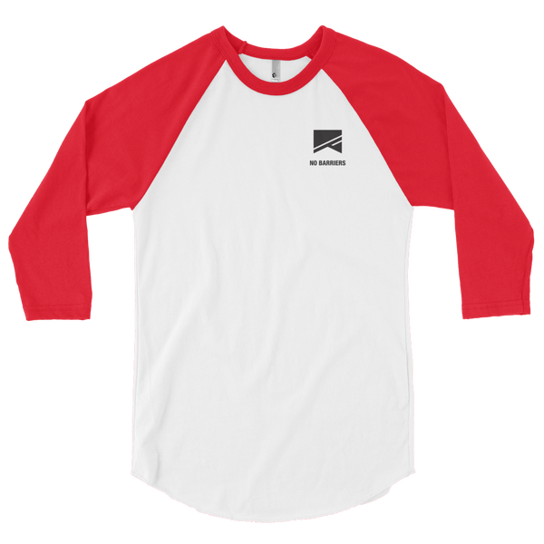 3/4 Sleeve Raglan Shirt - No Barriers Apparel - White/Red / XS