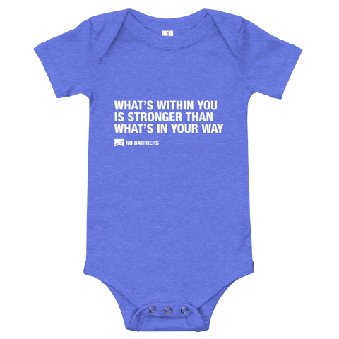 Baby Onesie - No Barriers Apparel - Heather Columbia Blue / 3-6m