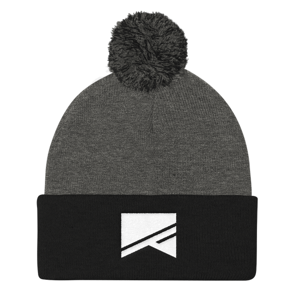 Pom Pom Knit Cap - 7 Colors! - No Barriers Hats - Dark Heather Grey/ Black