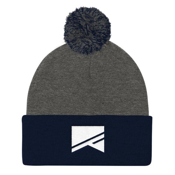 Pom Pom Knit Cap - 7 Colors! - No Barriers Hats - Dark Heather Grey/ Navy