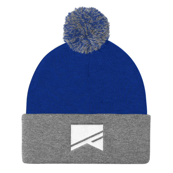 Pom Pom Knit Cap - 7 Colors! - No Barriers Hats - Royal/ Heather Grey
