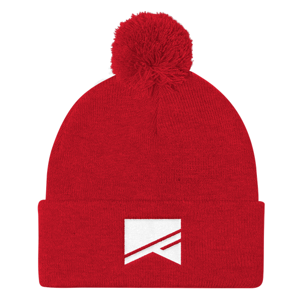 Pom Pom Knit Cap - 7 Colors! - No Barriers Hats - Red