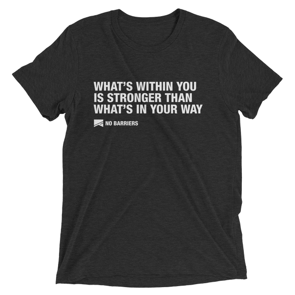 """What's Within You..."" Short Sleeve T-Shirt - 13 Colors & 8 Sizes! - No Barriers Apparel - Charcoal-Black Triblend / XS"