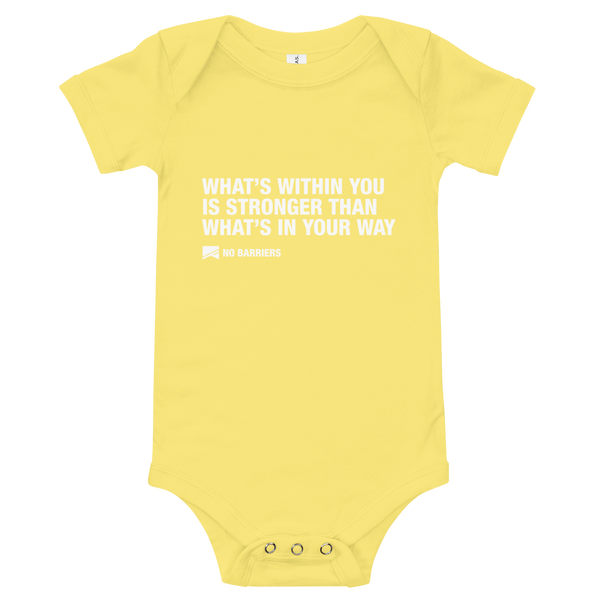 Baby Onesie - No Barriers Apparel - Yellow / 3-6m
