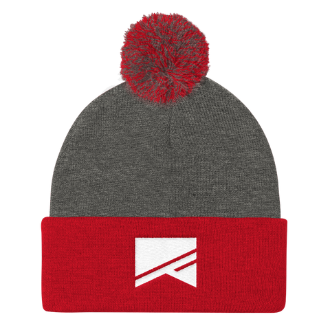 Pom Pom Knit Cap - 7 Colors! - No Barriers Hats - Dark Heather Grey/ Red