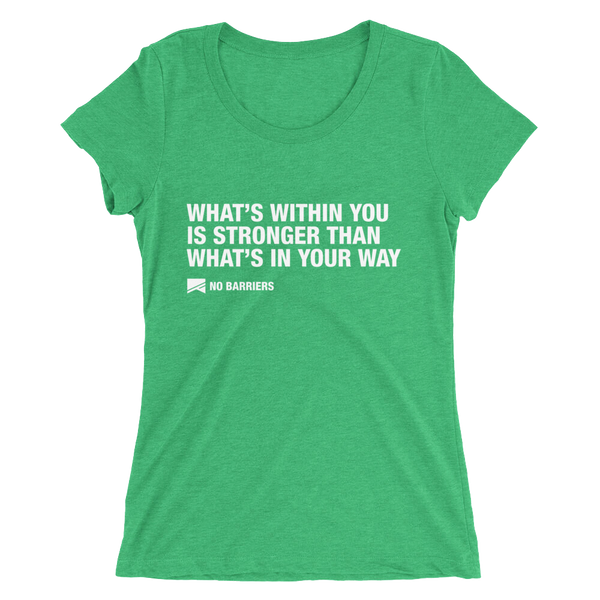 """What's Within You..."" Ladies' Short Sleeve T-Shirt - 10 Colors! - No Barriers Apparel - Green Triblend / S"