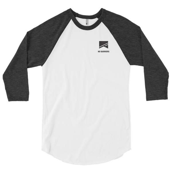 3/4 Sleeve Raglan Shirt - No Barriers Apparel - White/Heather Black / XS
