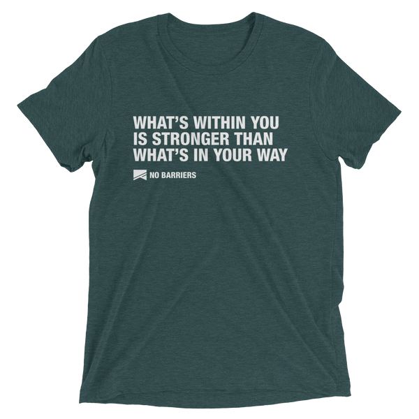 """What's Within You..."" Short Sleeve T-Shirt - 13 Colors & 8 Sizes! - No Barriers Apparel - Emerald Triblend / XS"
