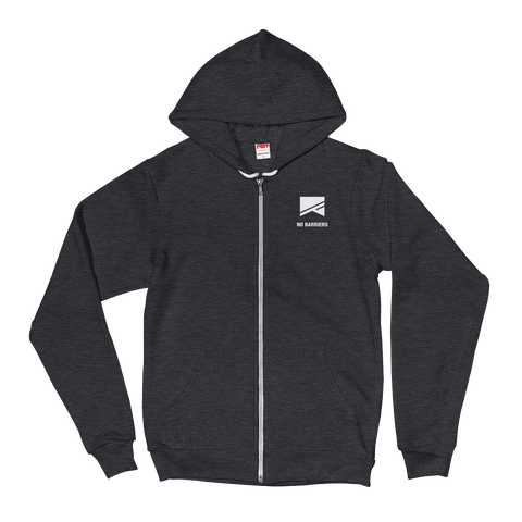 Zip-Up Hoodie Sweatshirt - No Barriers Apparel - Dark Heather Grey / XS