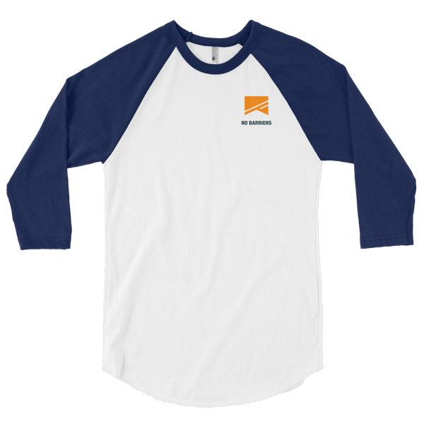 3/4 Sleeve Raglan Shirt - No Barriers Apparel - White/Navy / XS
