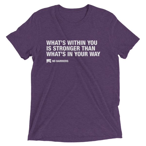 """What's Within You..."" Short Sleeve T-Shirt - 13 Colors & 8 Sizes! - No Barriers Apparel - Purple Triblend / XS"