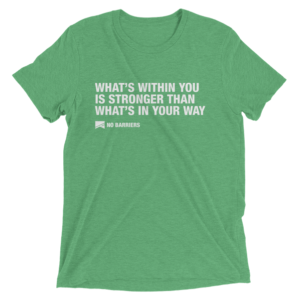 """What's Within You..."" Short Sleeve T-Shirt - 13 Colors & 8 Sizes! - No Barriers Apparel - Green Triblend / XS"