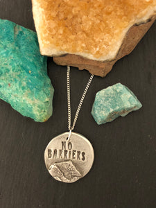 """No Barriers"" Round Silver Pendant and Chain - No Barriers Jewelry -"
