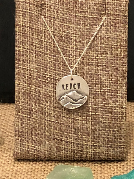 """Reach"" Round Silver Pendant and Chain - No Barriers Jewelry -"