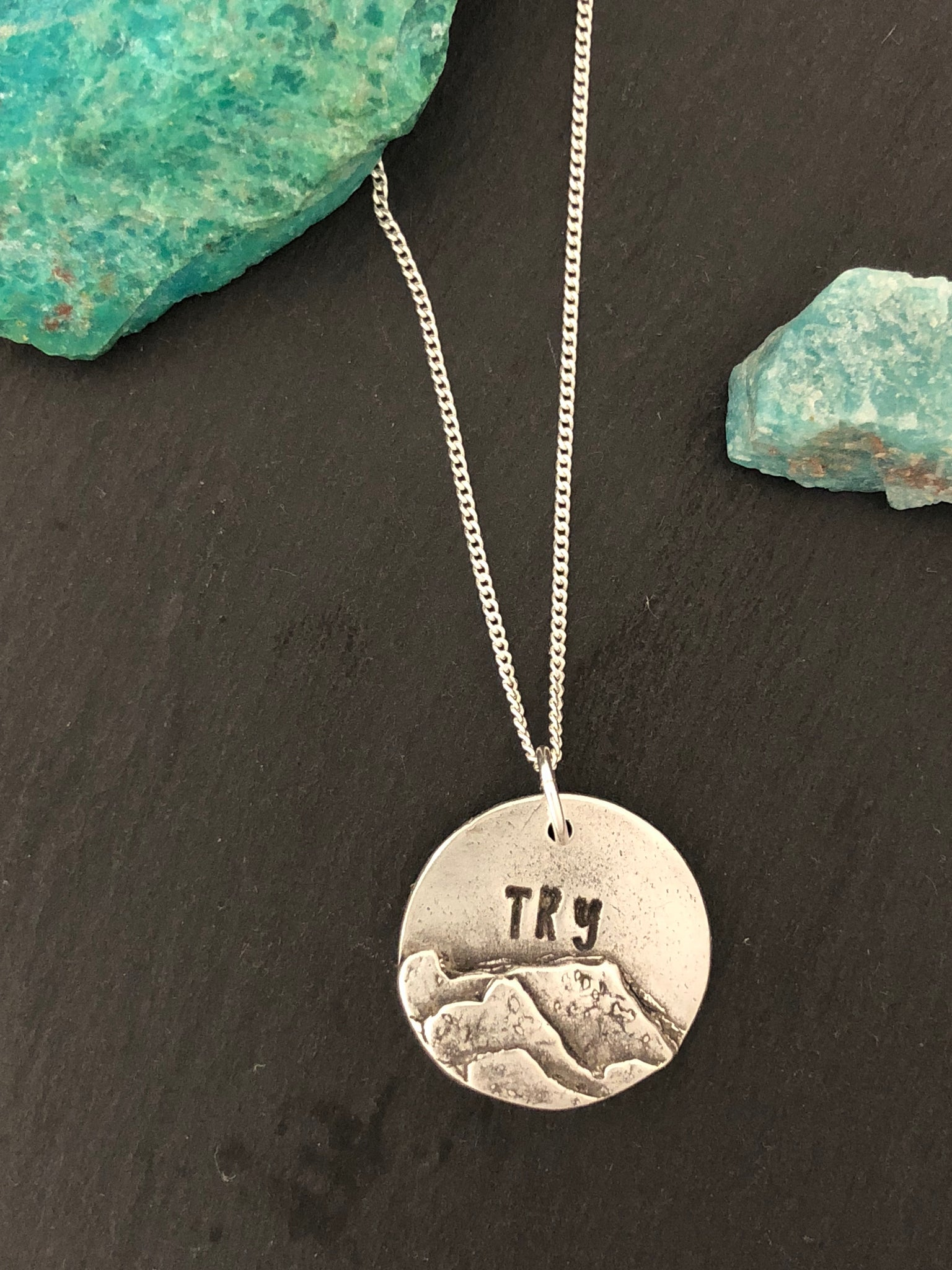 """Try"" Round Silver Pendant and Chain - No Barriers Jewelry -"