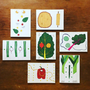 Summer Produce Recipe Cards by Local Artist and Chef