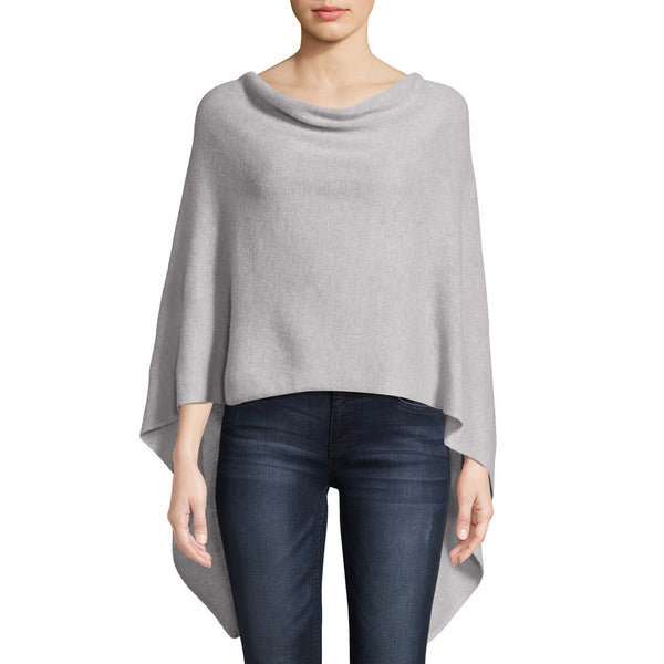Cashmere Ruana in Light Heather Grey
