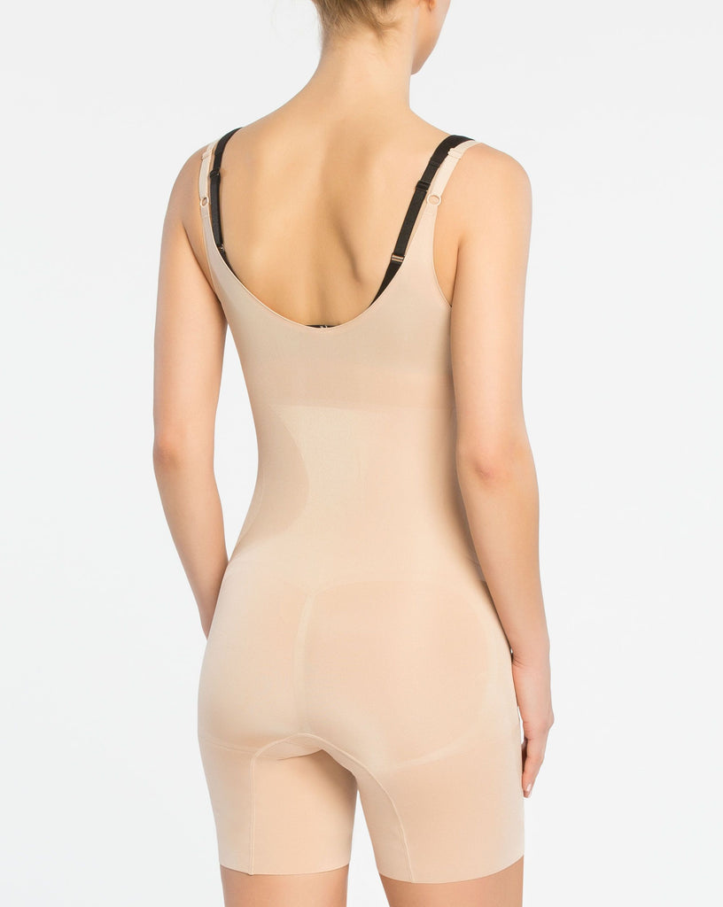 ONCORE Open-Bust Mid-Thigh Bodysuit in Soft Nude