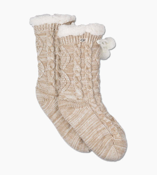 POM POM Fleece Lined Cozy Socks in Cream