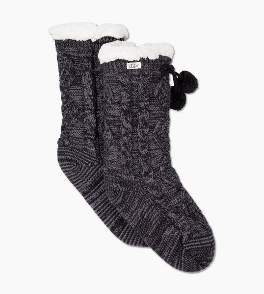 POM POM Fleece Lined Cozy Socks in Nightfall