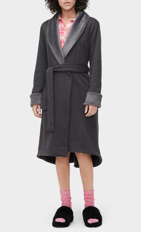 DUFFIELD II Double Knit Fleece Robe in Black Bear Heather