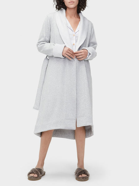 DUFFIELD II Double Knit Fleece Robe in Seal Heather