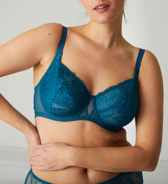 PROMESSE Full Cup Lace Bra in Baltic Blue