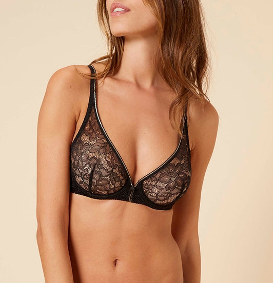 AFTER WORK Sheer Plunge Bra in Black