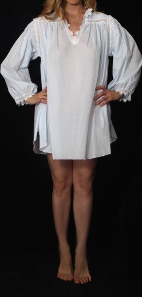 Long Sleeve Short Cotton Night Gown in White