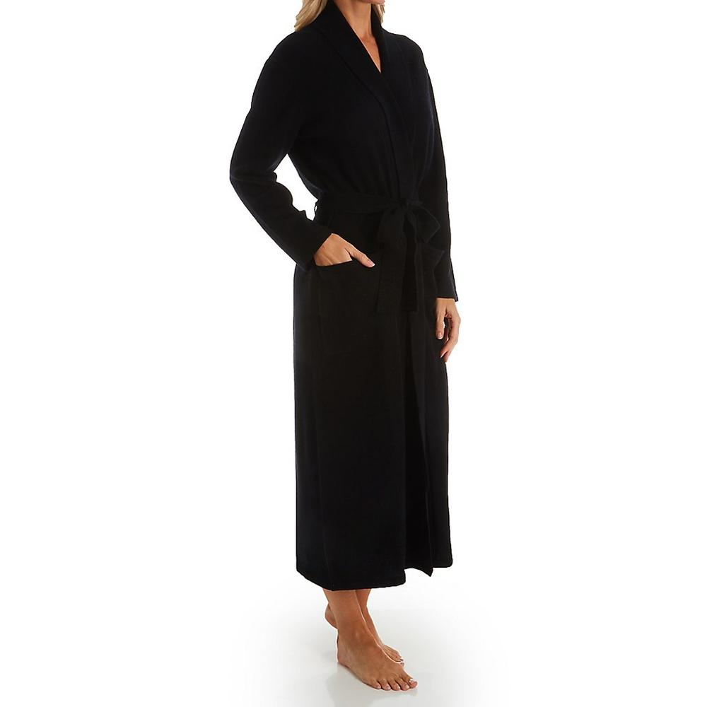 Cashmere Long Duster Robe in Black