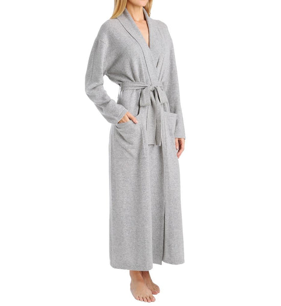 Cashmere Long Duster Robe in Flannel Grey