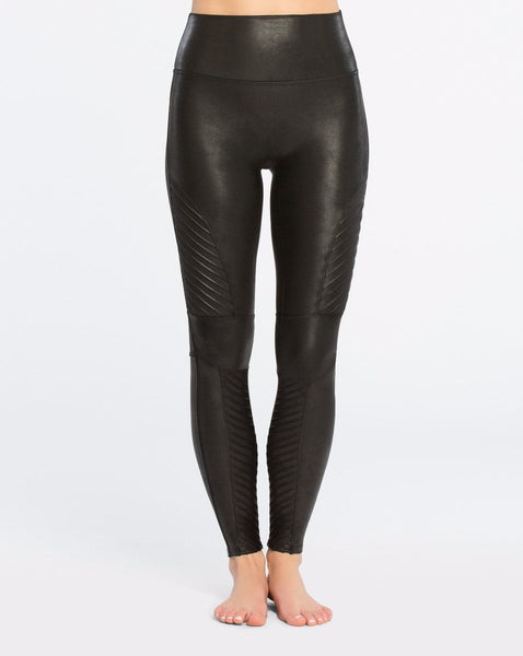Faux Leather Moto Leggings in Very Black