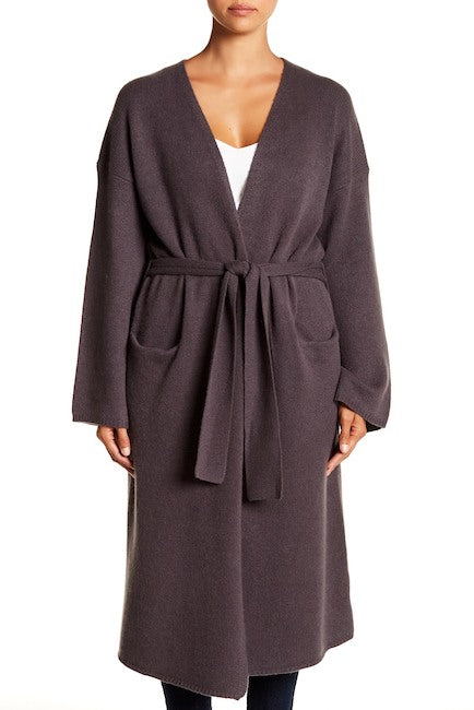 Cashmere Short Robe in Cement