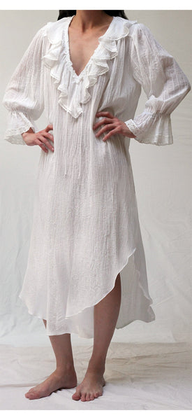 Long Gauze Poet Nightshirt in White