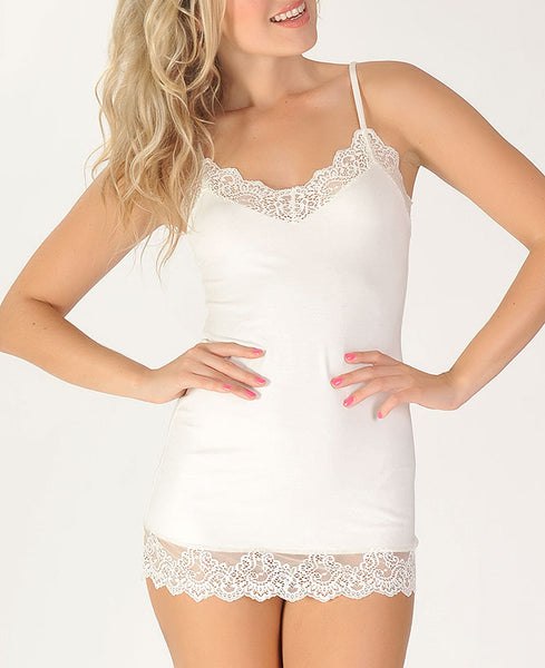 SO FINE With Lace Chemette in White