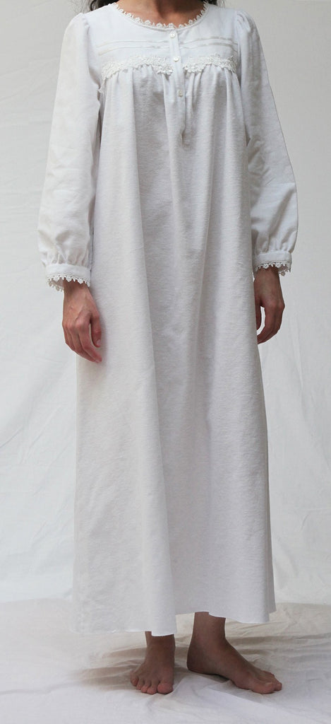 BARBARA Flannel Long Gown in White