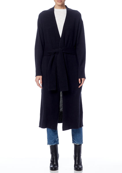 BLAIRE Cashmere Duster Cardigan in Black