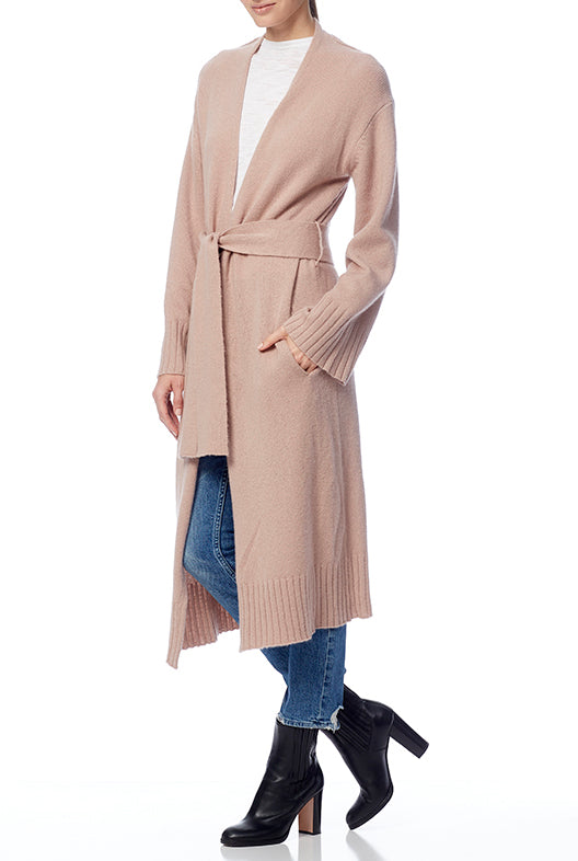 BLAIRE Cashmere Duster Cardigan in Old Rose