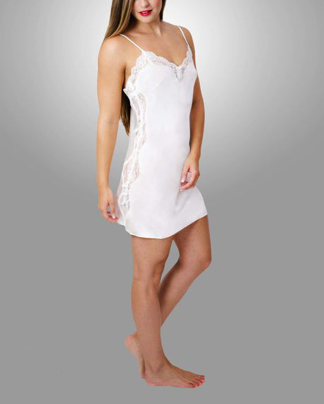 ANGELINA Lace Trimmed Silk Chemise in Porcelain