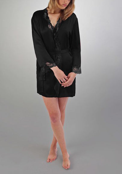 ANGELINA Lace Trimmed Silk Robe in Black