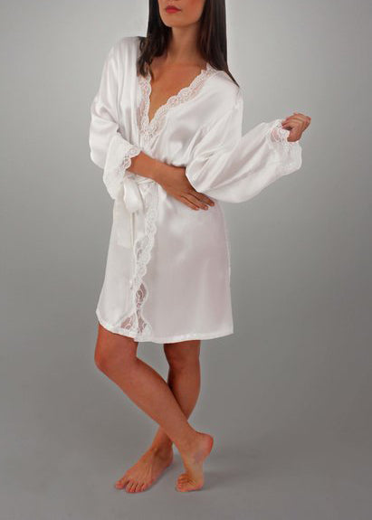 ANGELINA Lace Trimmed Silk Robe in Porcelain