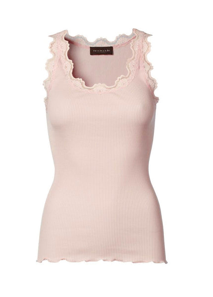 Silk & Lace Top in Soft Rose