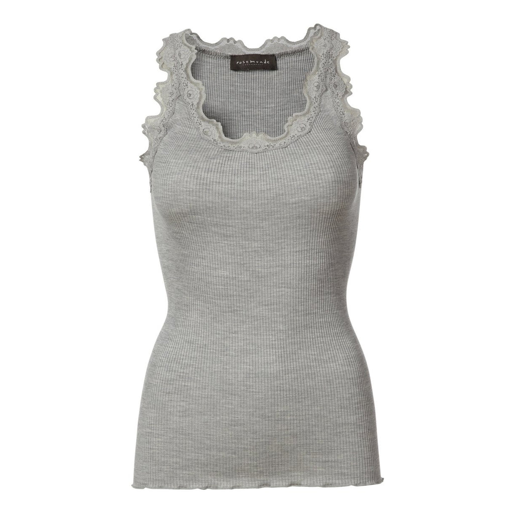 Silk & Lace Top in Light Grey Melange