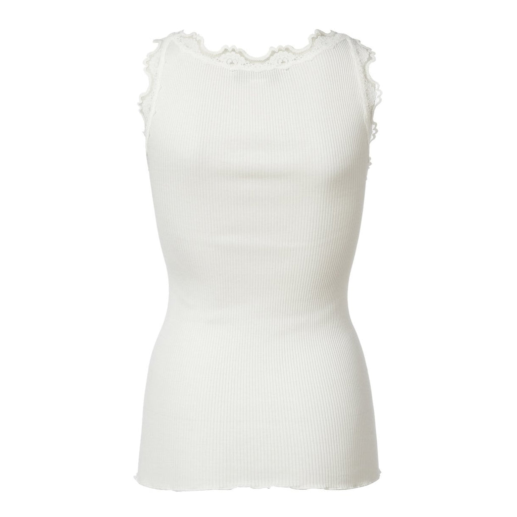 Silk & Lace Top in New White