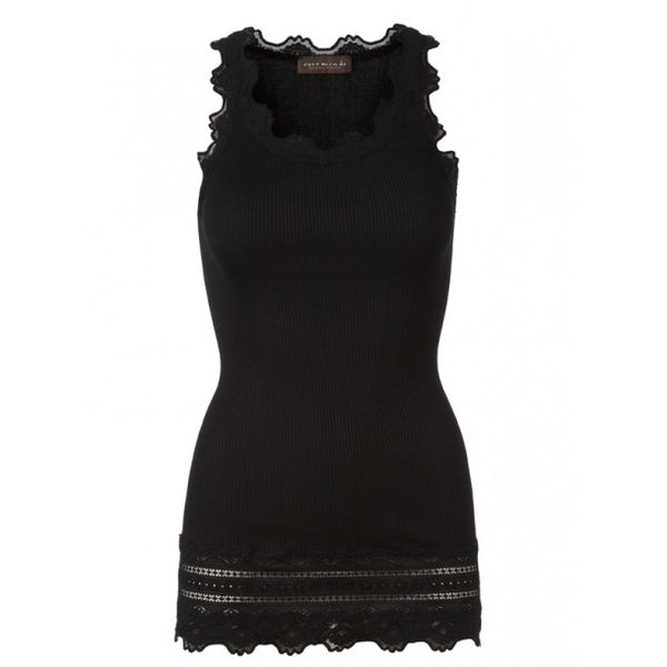 Vintage Long Silk & Lace Tank in Black