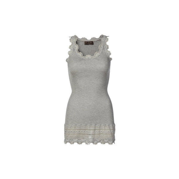 Vintage Long Silk & Lace Tank in Light Grey Melange