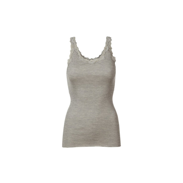 Silk & Lace Tank Top in Light Grey Melange