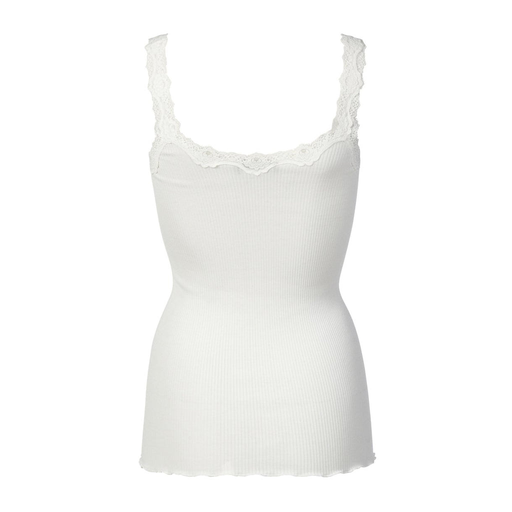 Silk & Lace Tank Top in New White